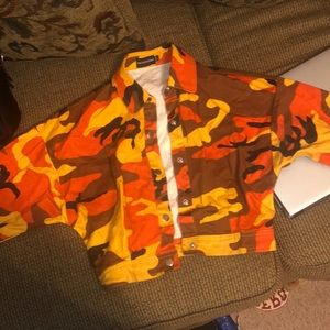 Orange cropped camo jacket